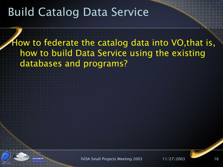 Build Catalog Data Service