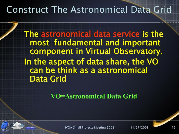 Construct The Astronomical Data Grid