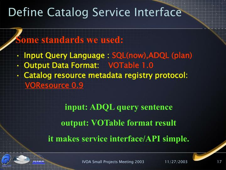 Define Catalog Service Interface