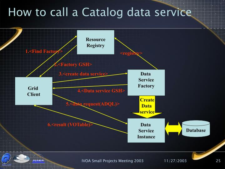 How to call a Catalog data service