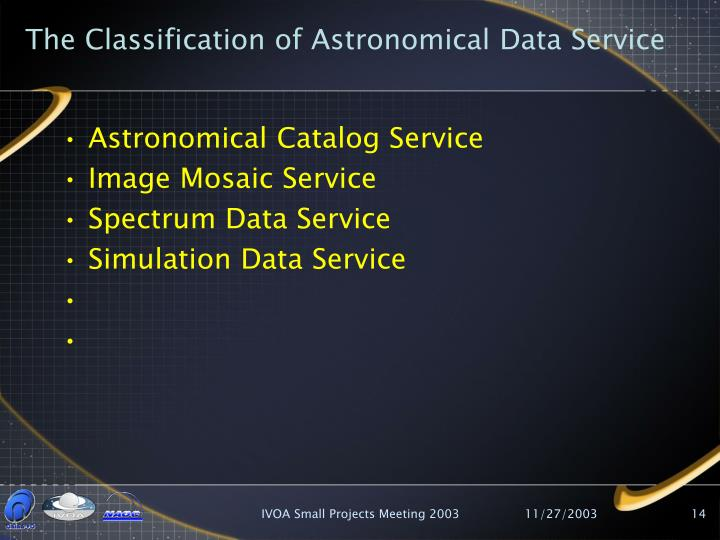 The Classification of Astronomical Data Service