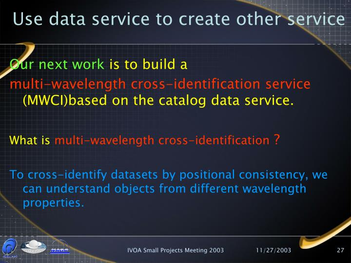Use data service to create other service