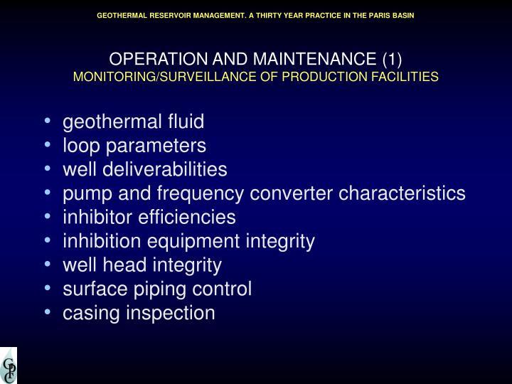 OPERATION AND MAINTENANCE (1)