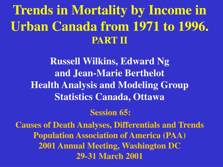 Trends in Mortality by Income in Urban Canada from 1971 to 1996.