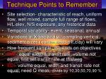 technique points to remember