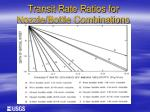 transit rate ratios for nozzle bottle combinations