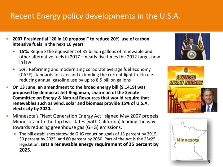 Recent Energy policy developments in the U.S.A.