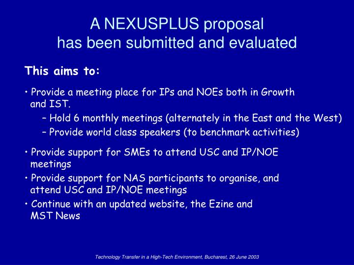 A NEXUSPLUS proposal