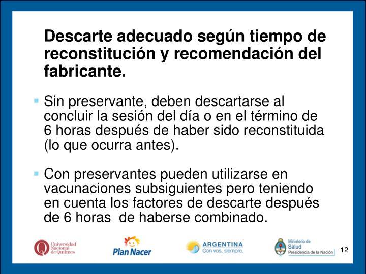 Descarte adecuado según tiempo de reconstitución y recomendación del fabricante.