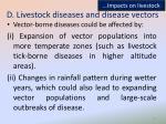 d livestock diseases and disease vectors
