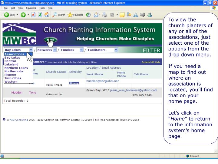 Selecting various groups of church starts