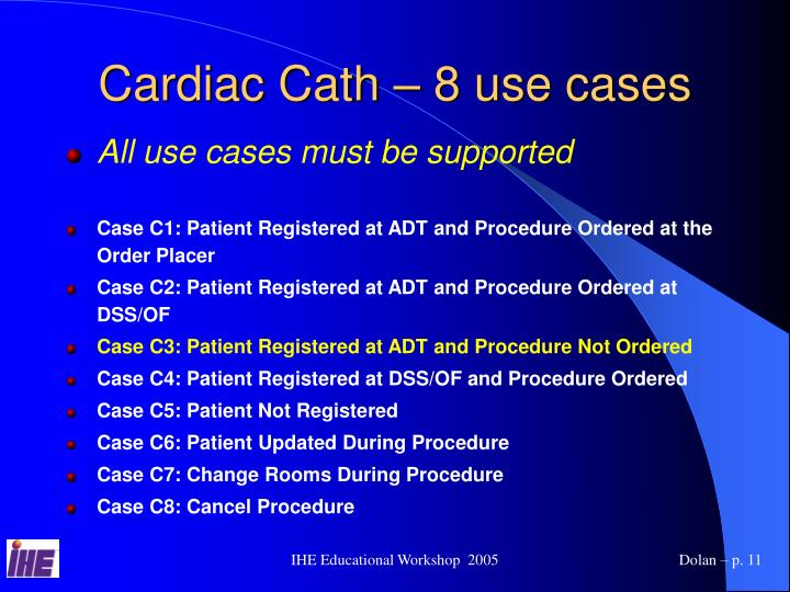 Cardiac Cath – 8 use cases