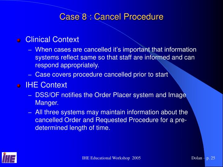 Case 8 : Cancel Procedure