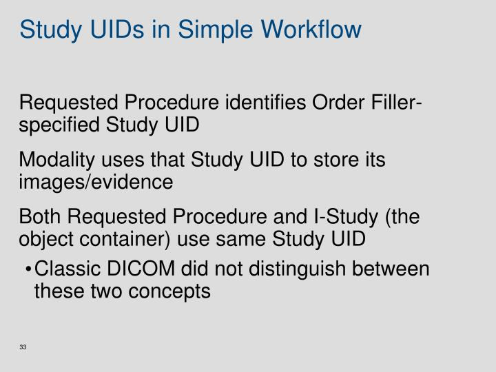 Study UIDs in Simple Workflow