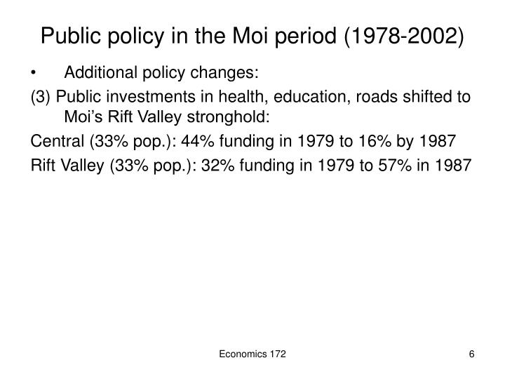 Public policy in the Moi period (1978-2002)