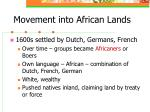 movement into african lands
