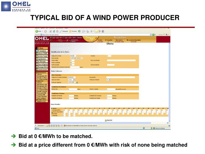 TYPICAL BID OF A WIND POWER PRODUCER