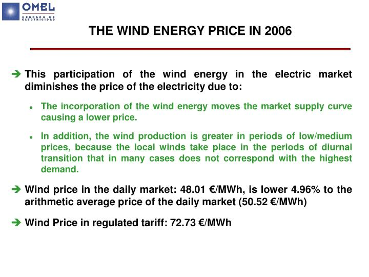 THE WIND ENERGY PRICE IN 2006