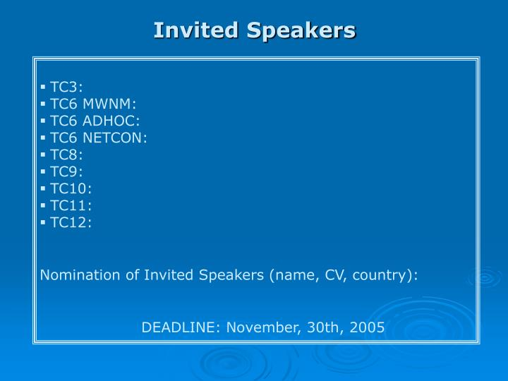 Invited Speakers