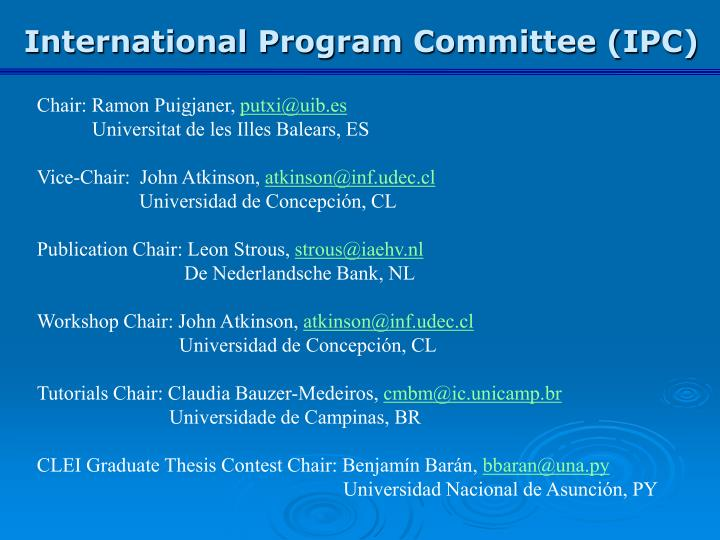 International Program Committee (IPC)