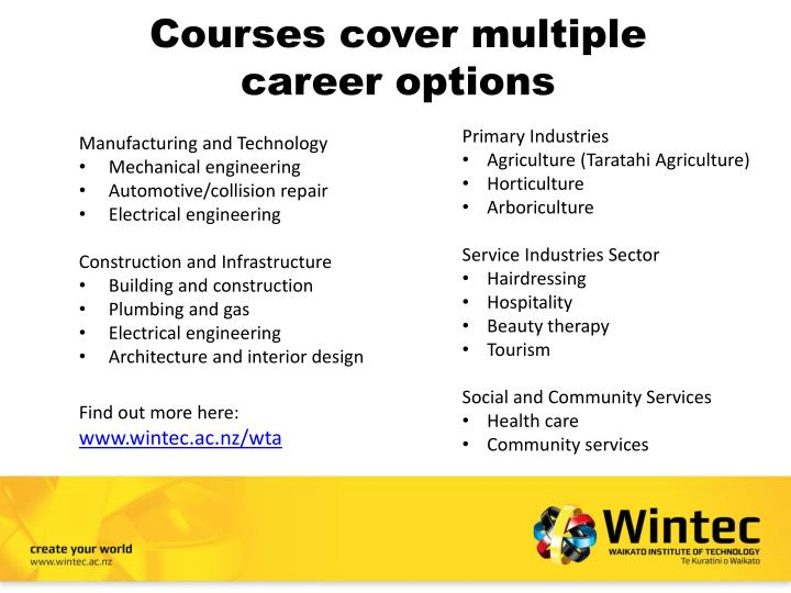 Courses cover multiple career options