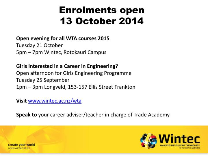 Enrolments open