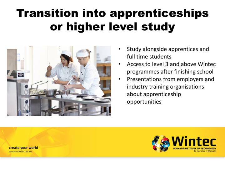 Transition into apprenticeships or higher level study