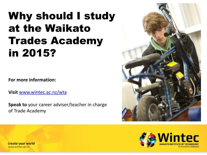 Why should i study at the waikato trades academy in 2015
