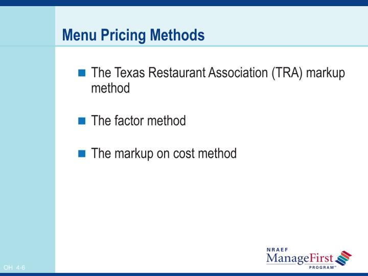 Menu Pricing Methods