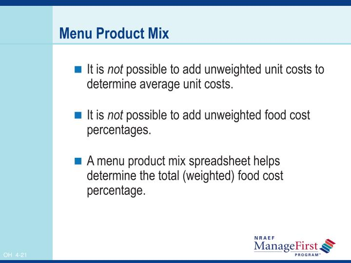 Menu Product Mix