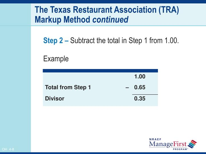 The Texas Restaurant Association (TRA) Markup Method