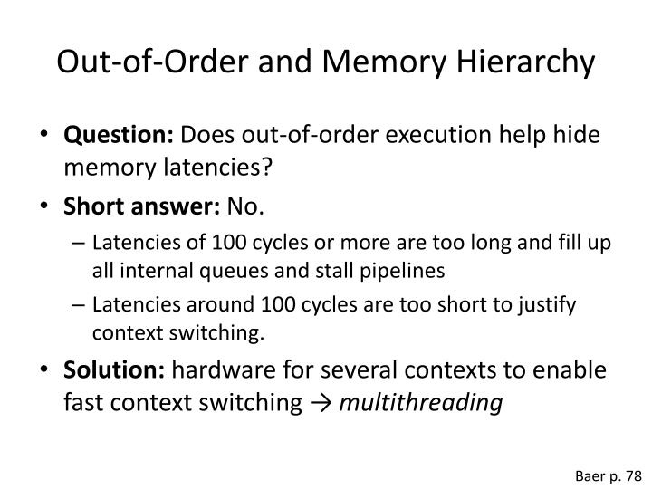 Out-of-Order and Memory Hierarchy