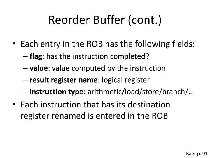 Reorder Buffer (cont.)