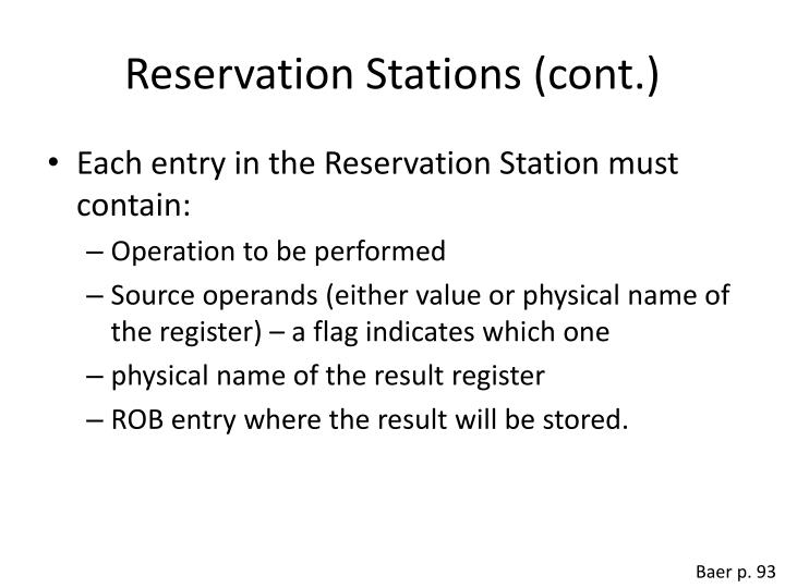 Reservation Stations (cont.)