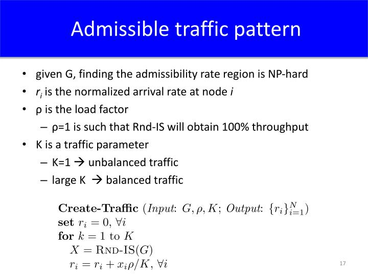 Admissible traffic pattern