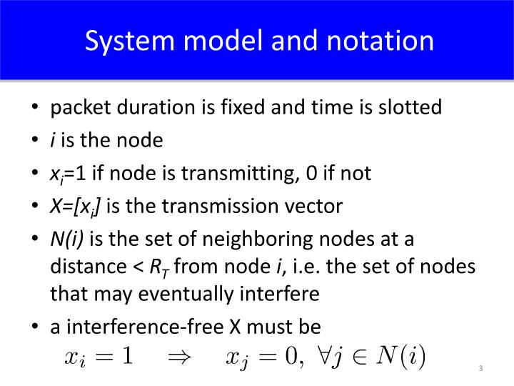 System model and notation