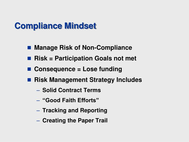 Compliance Mindset
