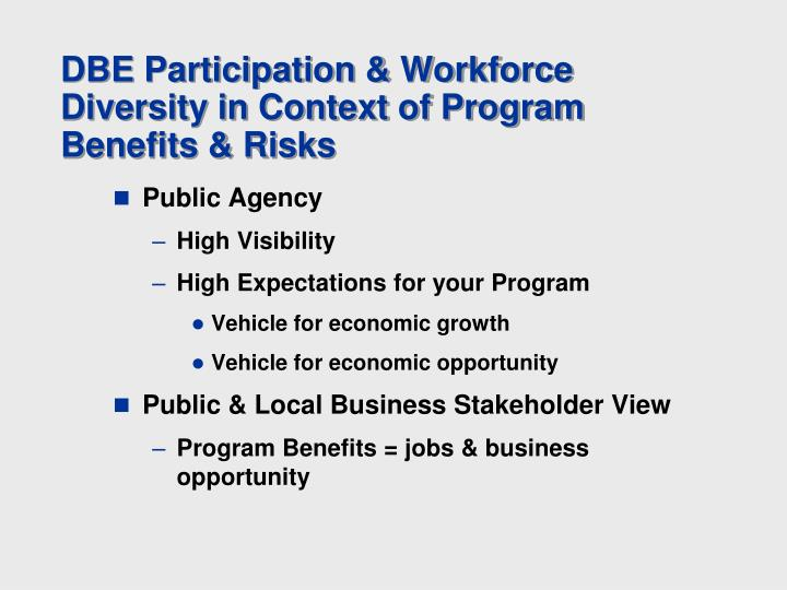 DBE Participation & Workforce Diversity in Context of Program Benefits & Risks