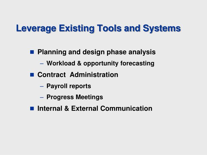 Leverage Existing Tools and Systems