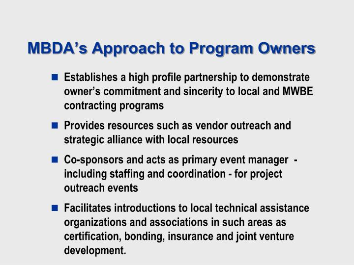 MBDA's Approach to Program Owners