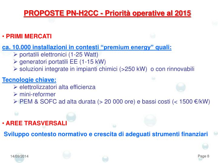 PROPOSTE PN-H2CC - Priorità operative al 2015