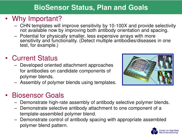 BioSensor Status, Plan and Goals