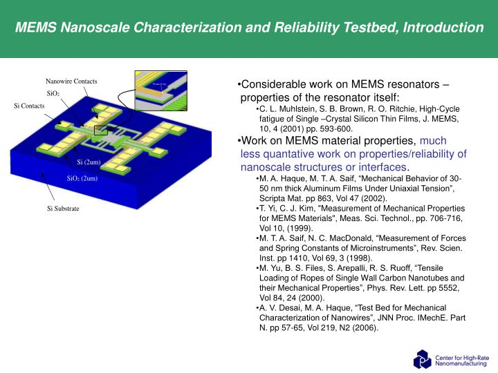 MEMS Nanoscale Characterization and Reliability Testbed, Introduction