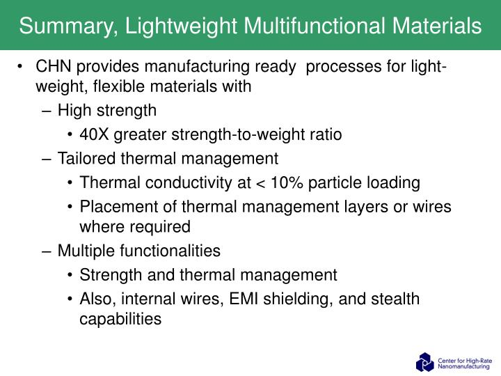 Summary, Lightweight Multifunctional Materials