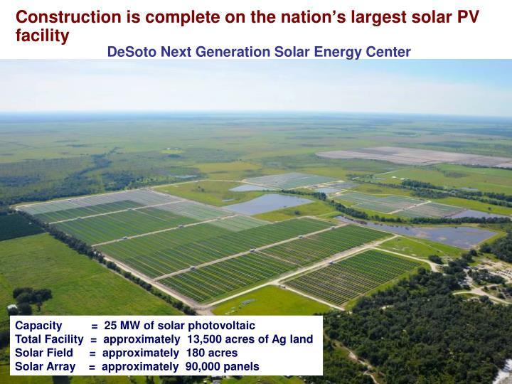 Construction is complete on the nation's largest solar PV facility