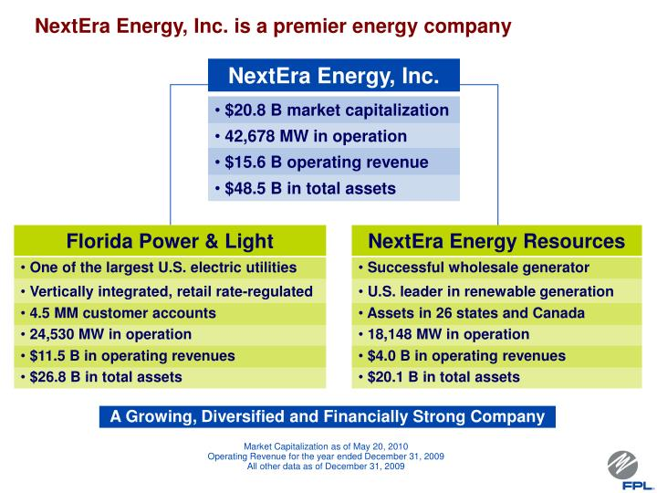 NextEra Energy, Inc. is a premier energy company