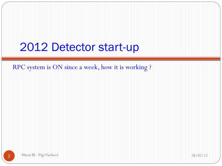 2012 Detector start-up