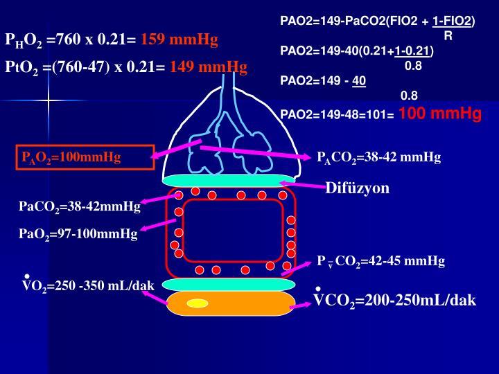 PAO2=149-PaCO2(FIO2 +