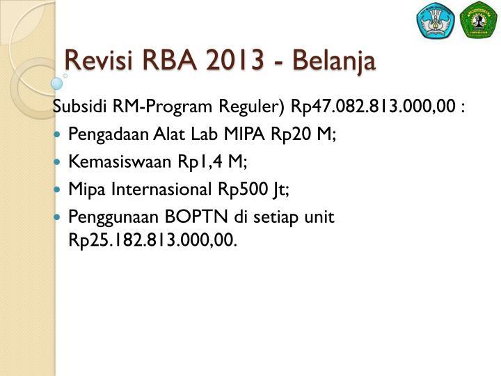 Revisi RBA 2013 - Belanja