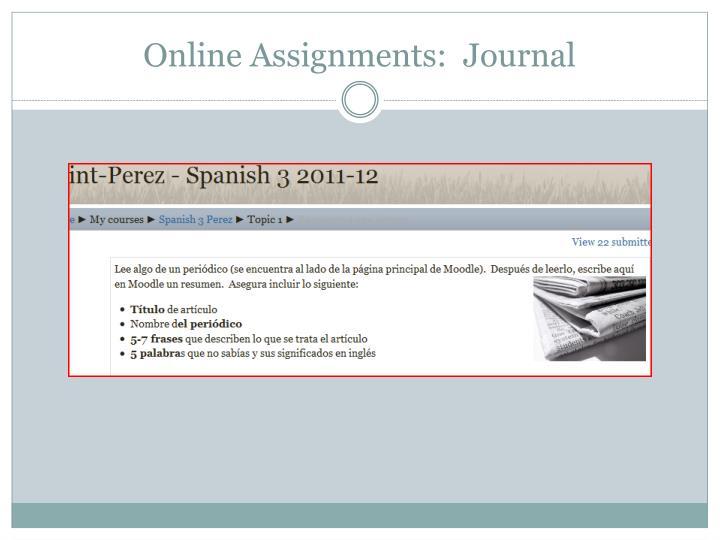Online Assignments:  Journal